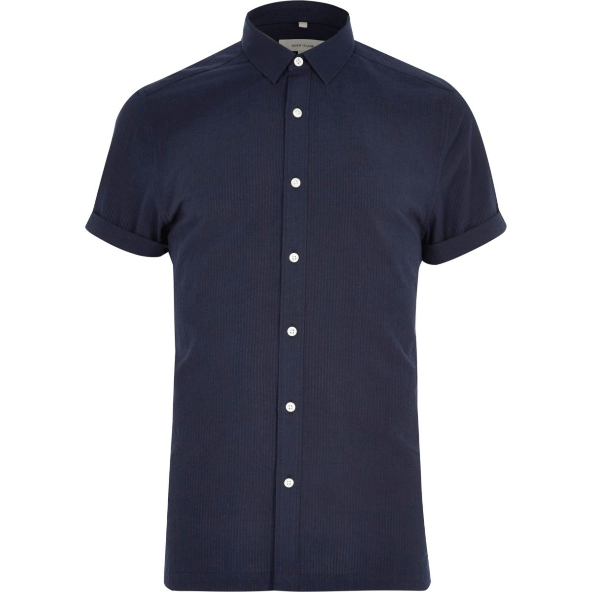 Navy seersucker short sleeve shirt