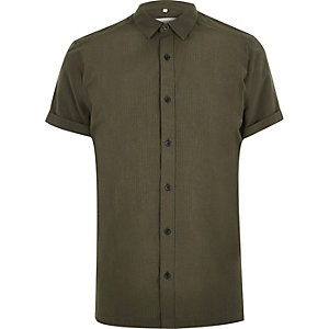 Green seersucker short sleeve shirt