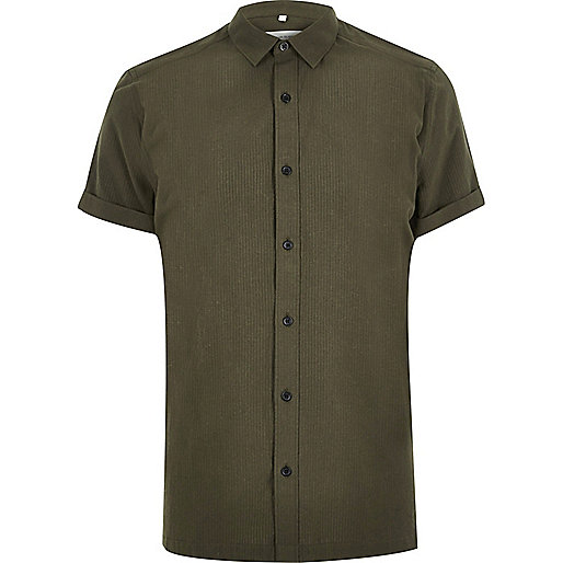 Green seersucker short sleeve shirt shirts sale men for Mens short sleeve seersucker shirts