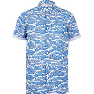 Blue oriental wave print shirt