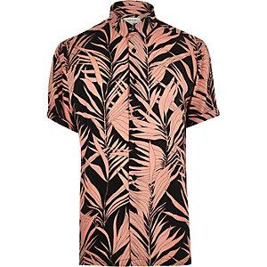 Overhemd met korte mouwen en roze bamboeprint