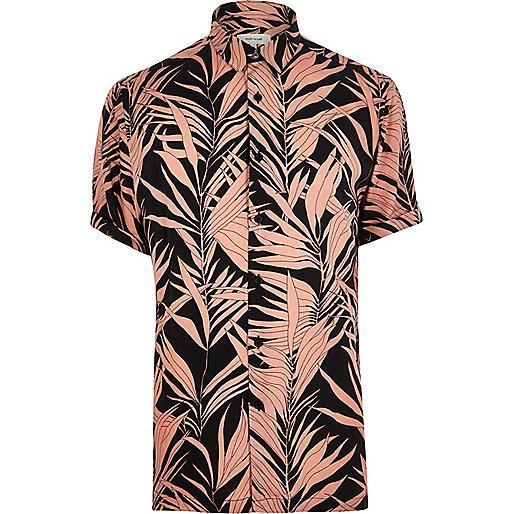 Pink bamboo print short sleeve shirt