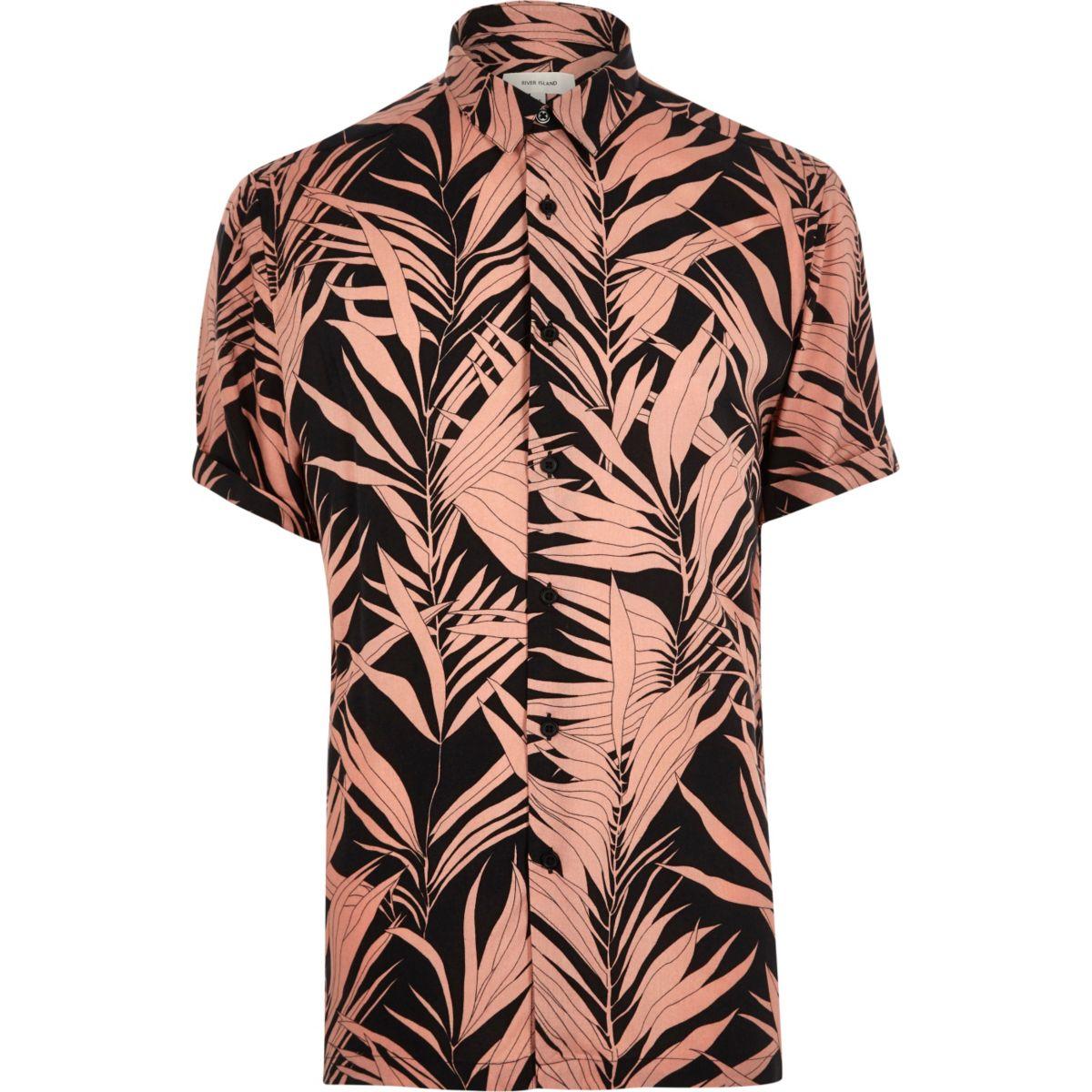 Chemise imprimé bambou rose à manches courtes