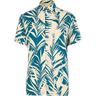 Blauw overhemd met korte mouwen en bamboeprint thumbnail