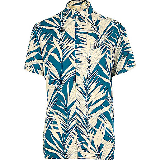 Blue bamboo print short sleeve shirt