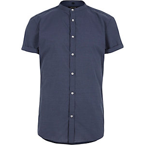Blue slim fit grandad shirt