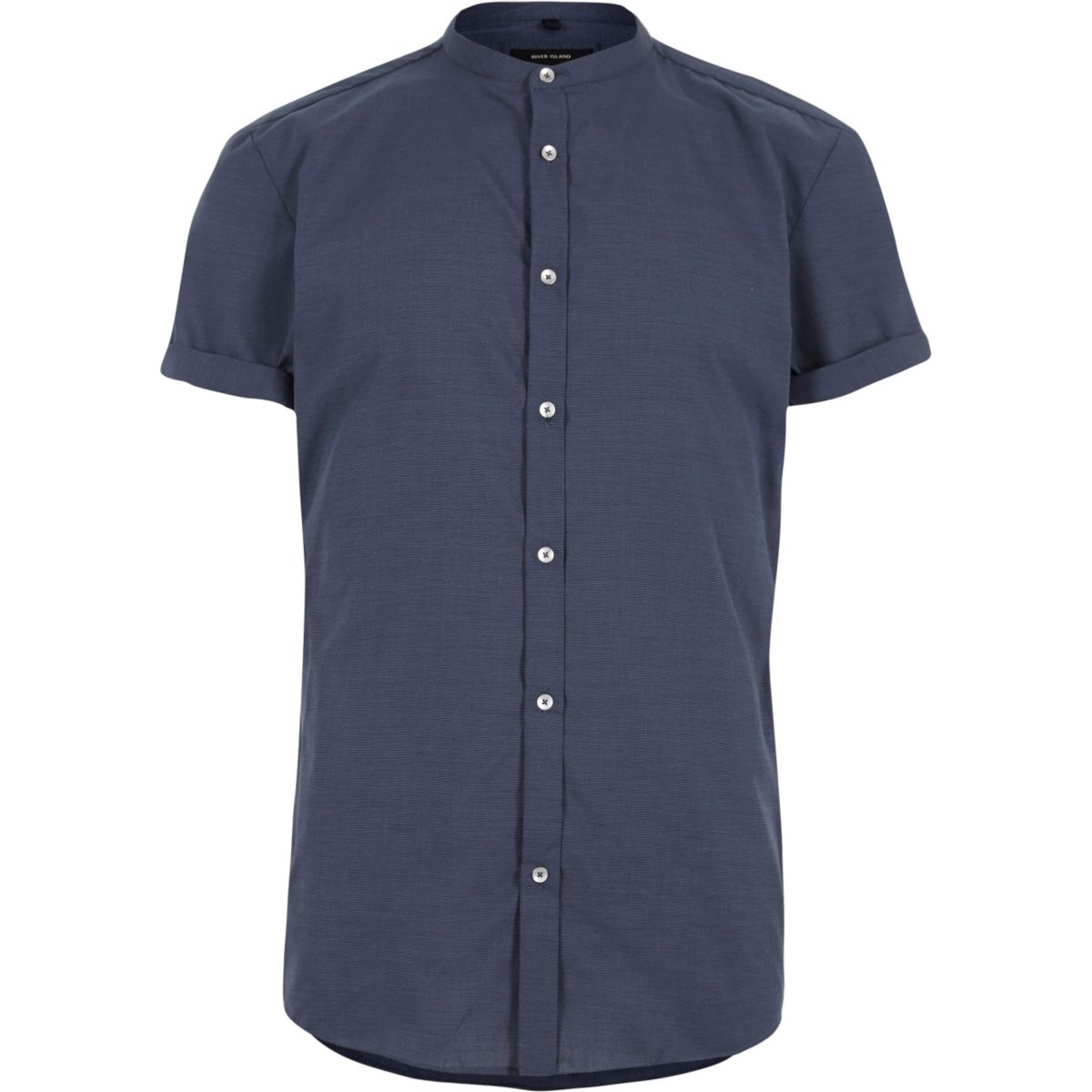 Blue slim fit grandad shirt