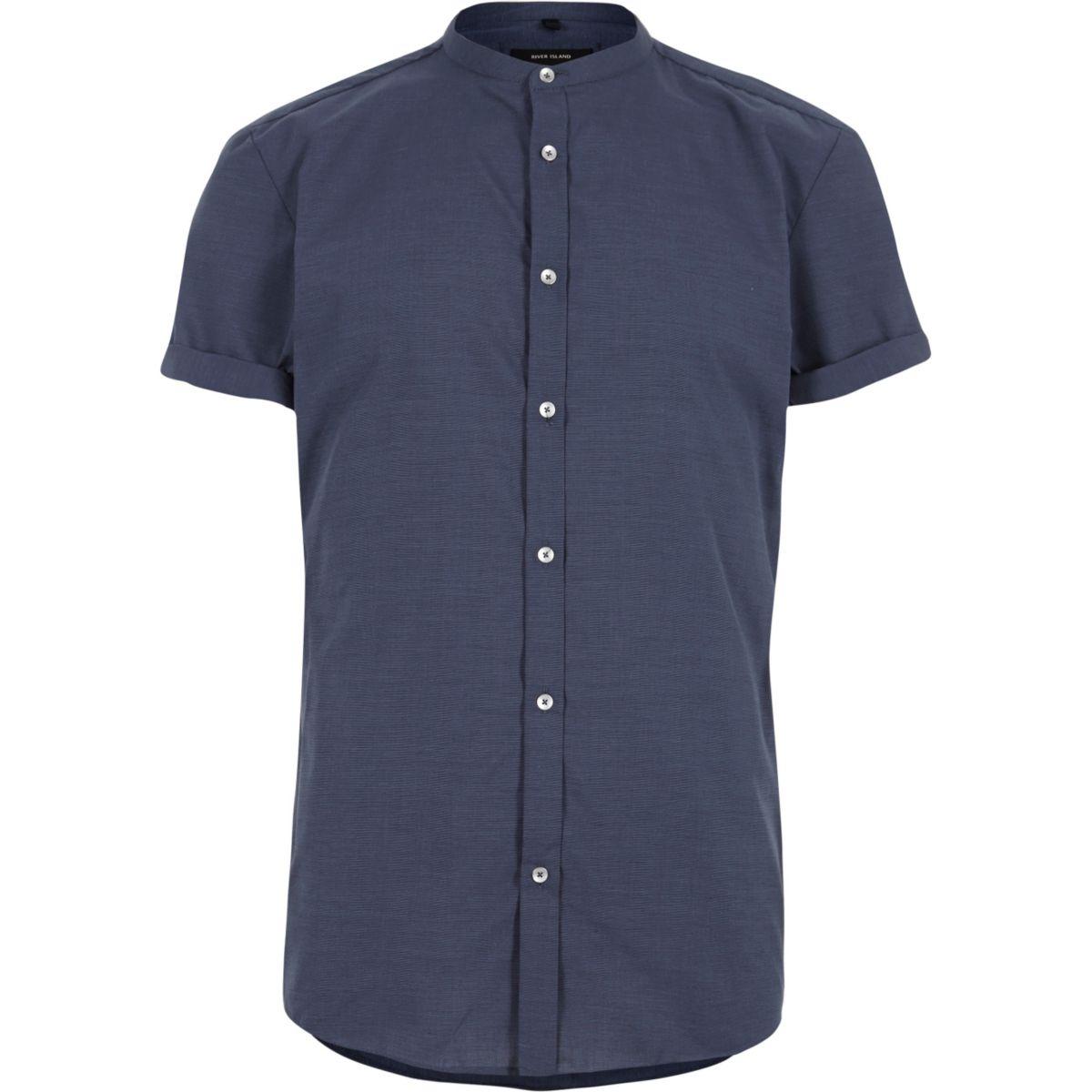 Blauw slim-fit overhemd zonder kraag