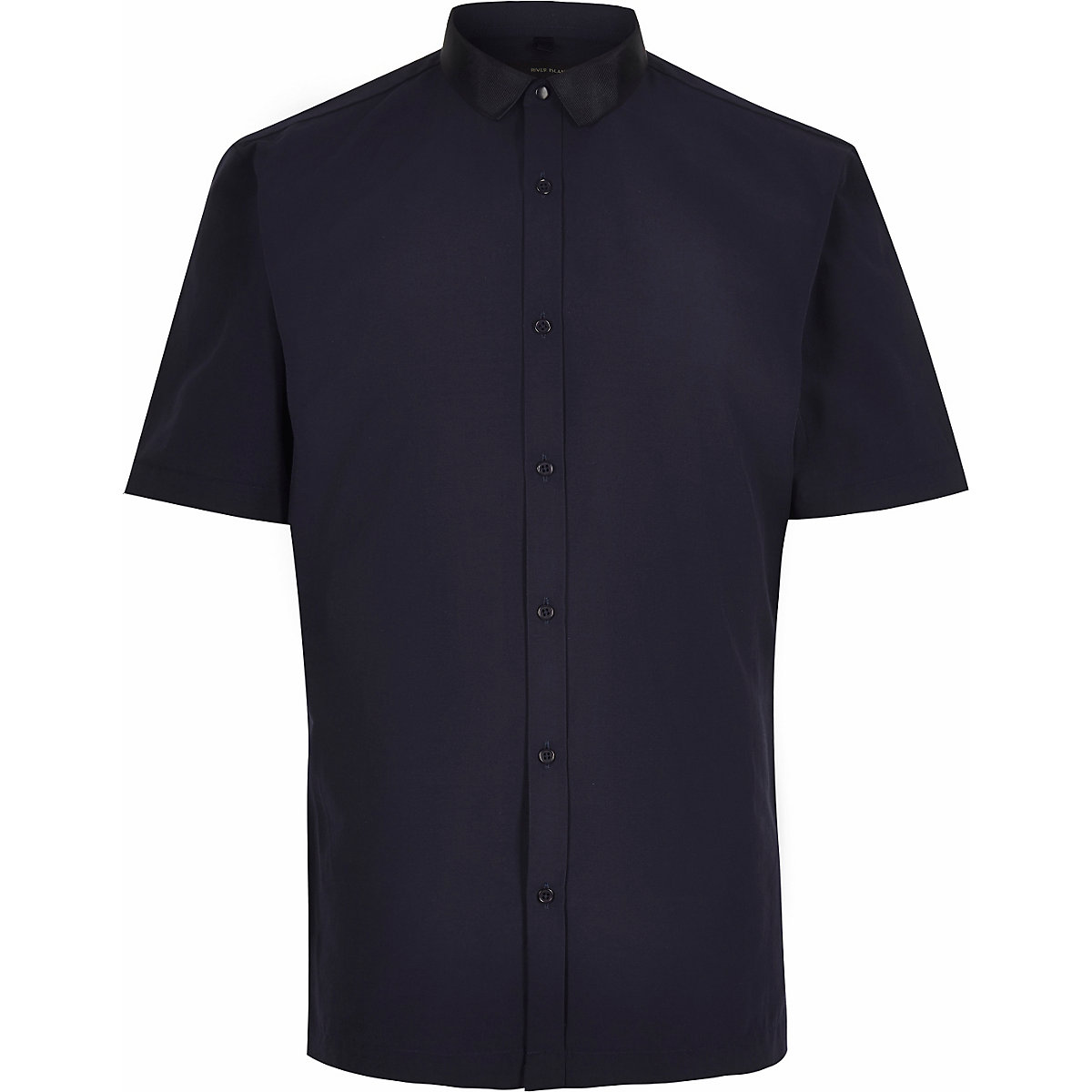 Navy grosgrain collar short sleeve shirt