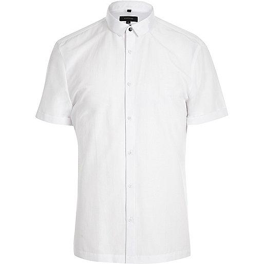 White grosgrain collar short sleeve shirt