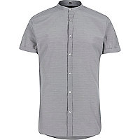 Black dogtooth slim fit grandad shirt