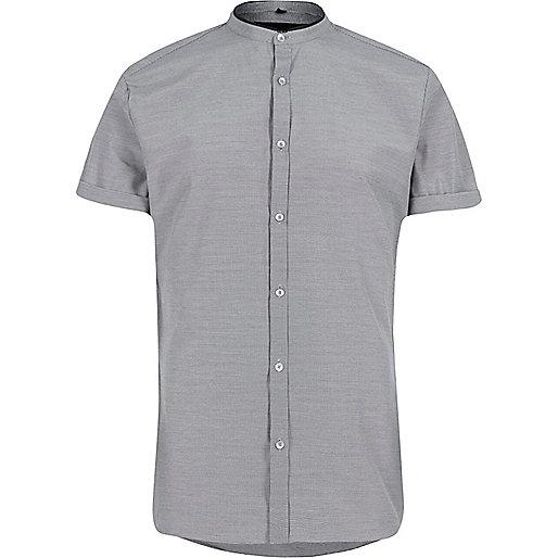 Black dogtooth slim fit grandad shirt