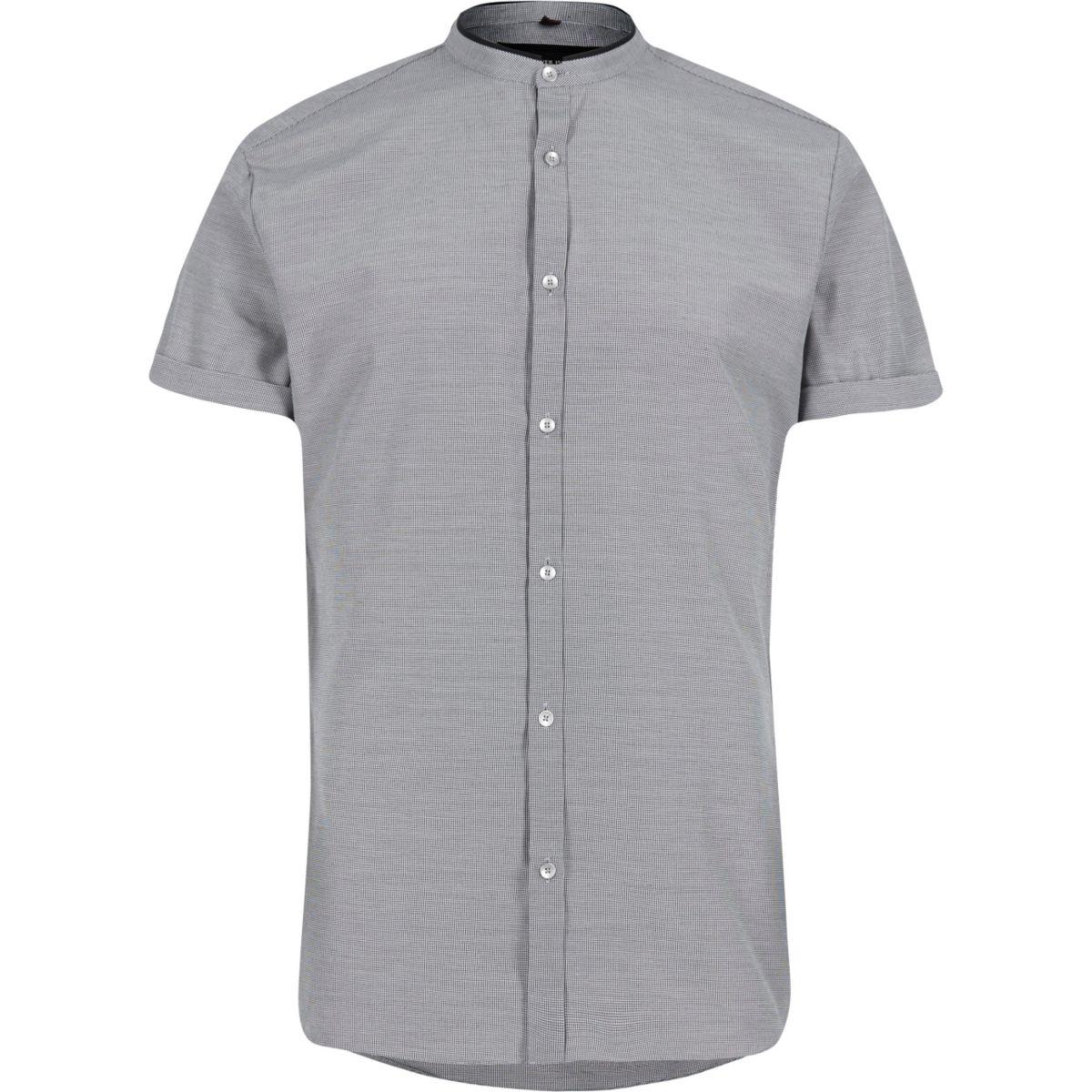 Black houndstooth slim fit grandad shirt