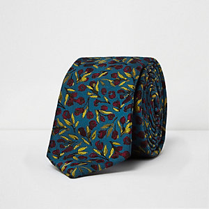 Blue poppy print tie