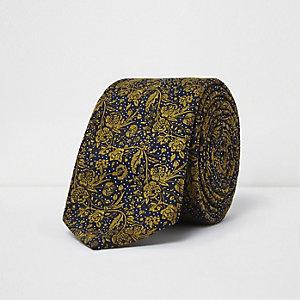 Yellow vine print tie