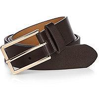 Dark brown leather-look belt