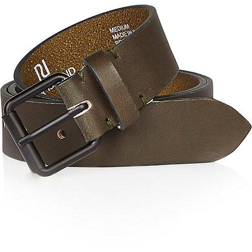 Bottle green leather belt
