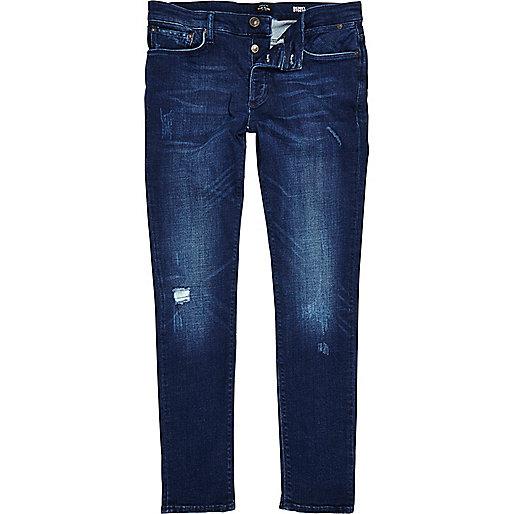 Sid – Jean skinny délavé bleu foncé