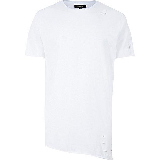 T-shirt long asymétrique blanc troué