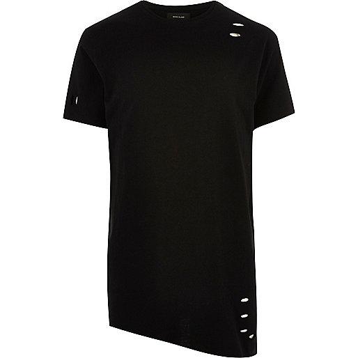 Black asymmetric longline holey T-shirt