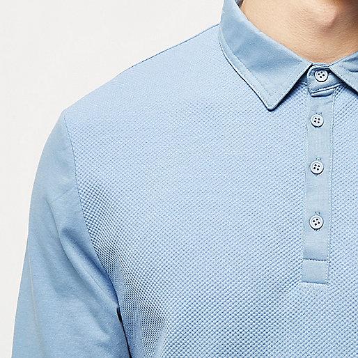 Blue textured long sleeve polo shirt