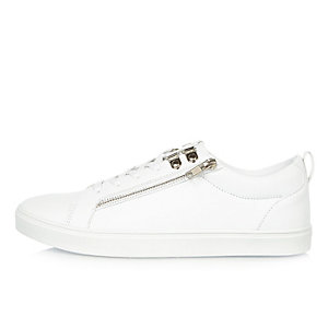 White zip trainers