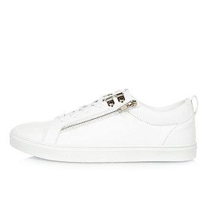 Baskets blanches zippées