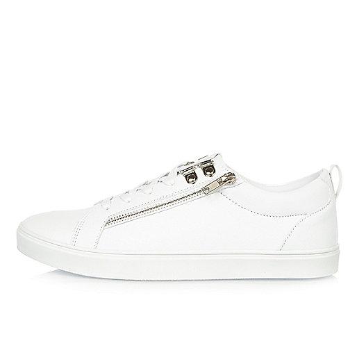 White zip trainers