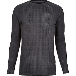 Grey ribbed muscle fit long sleeve T-shirt