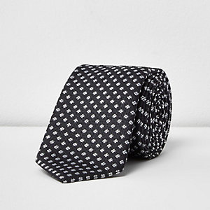 Charcoal criss cross print tie