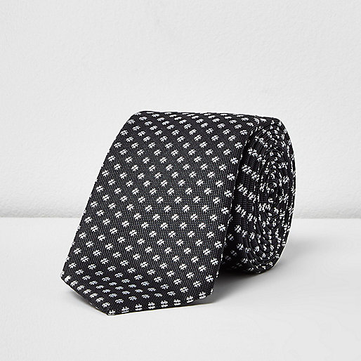 Charcoal criss cross print tie
