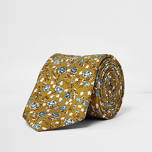 Yellow floral print silk tie