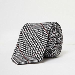 Grey checked tie