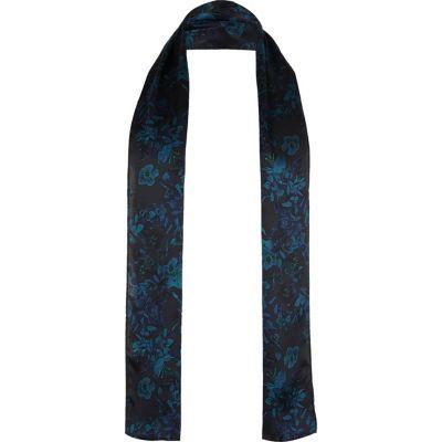 Donkerblauwe zijden nette sjaal met bloemenprint