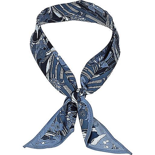 Blue fish print neck scarf