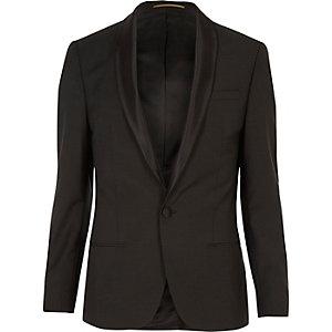 Khaki shawl lapel skinny blazer