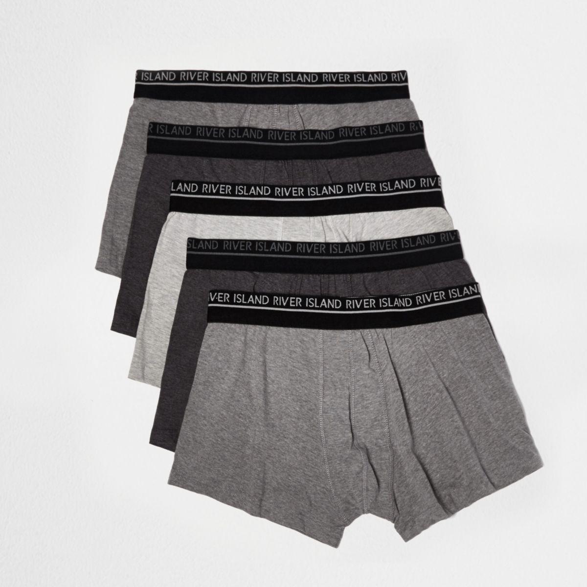 Lot de boxers gris chiné avec marque taille basse