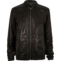 Black YMC leather bomber jacket