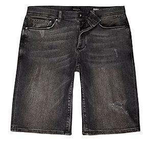 Grey wash distressed skinny denim shorts
