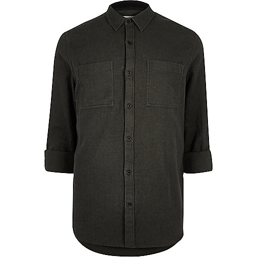 Green herringbone casual shirt