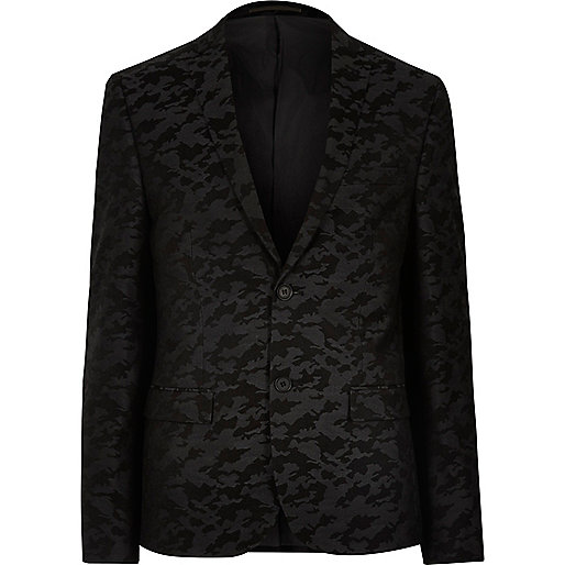 Veste de costume camouflage noire cintrée