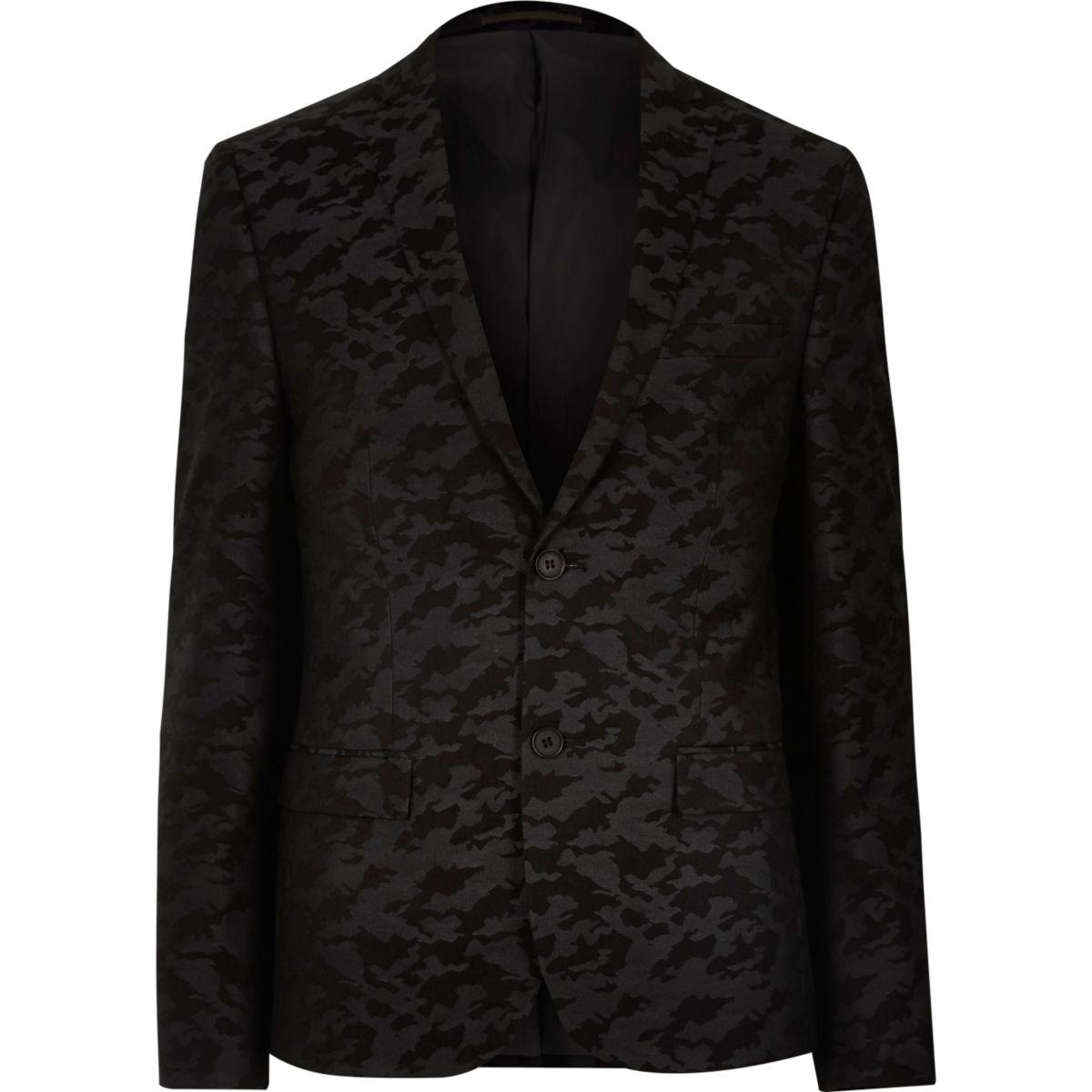 Black camo skinny suit jacket