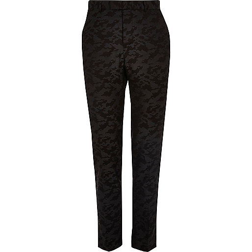Black camo print skinny suit trousers