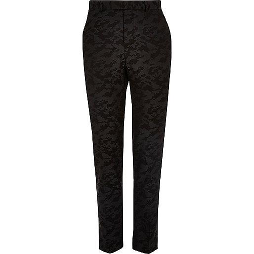 Pantalon de costume camouflage noir skinny