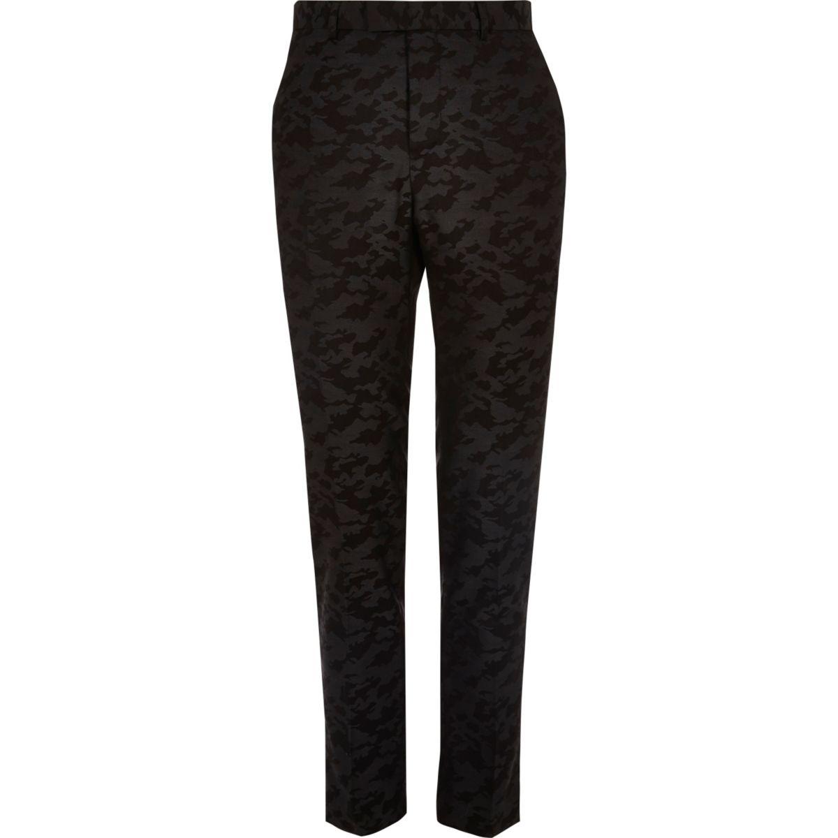 Black camo print skinny suit pants