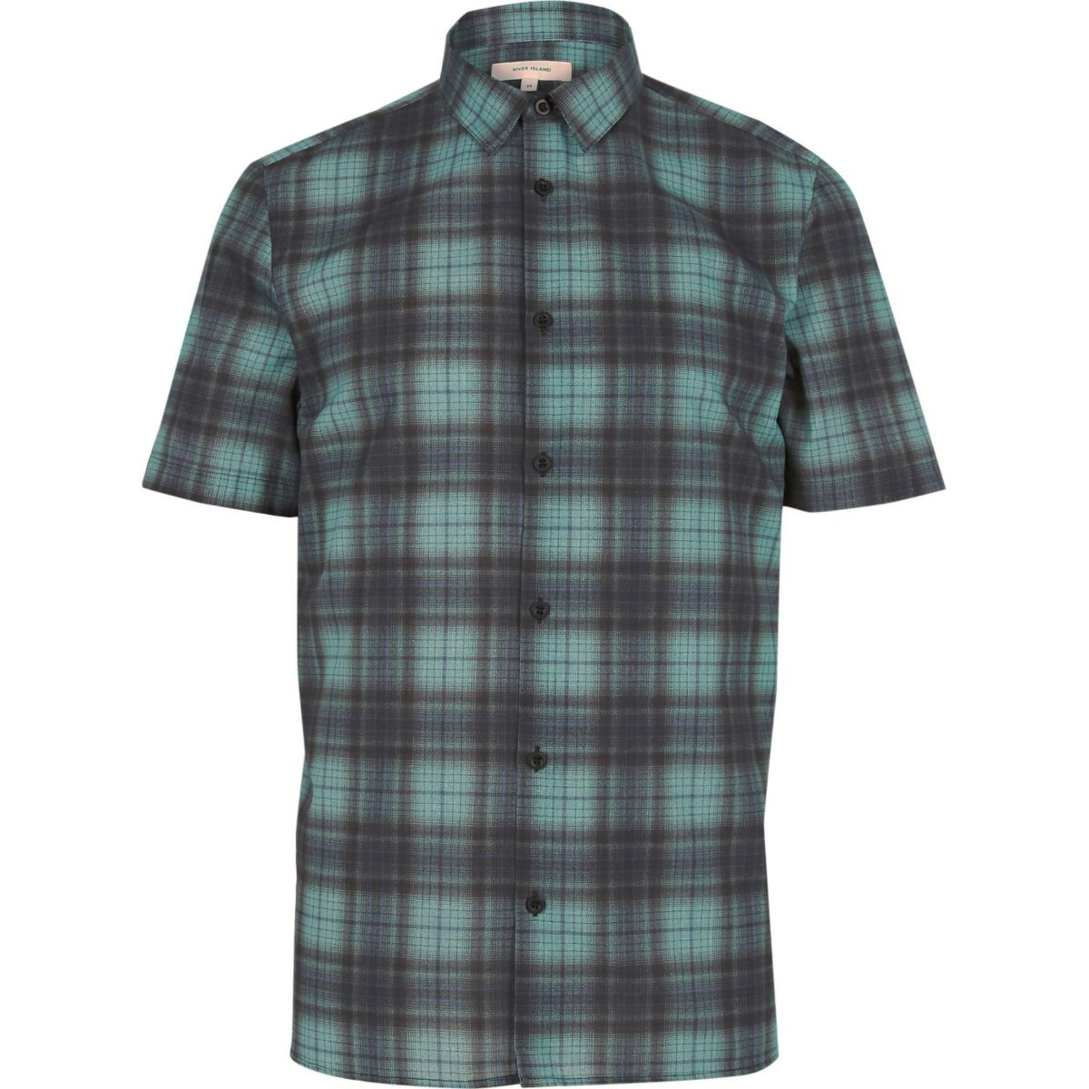 Blau kariertes kurzärmeliges Hemd