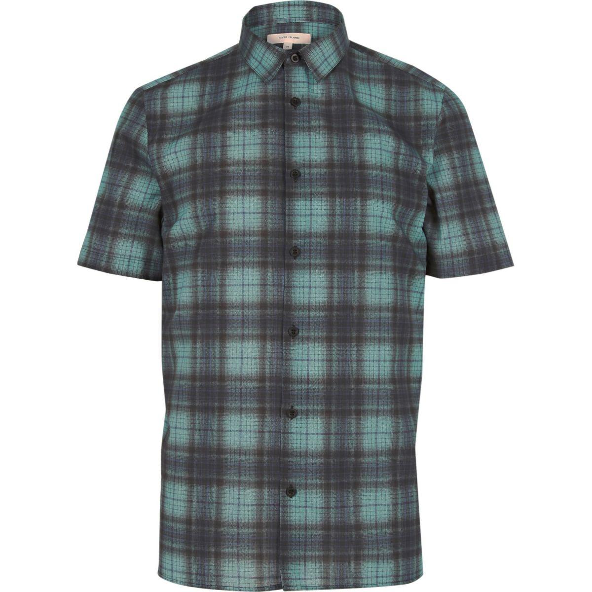 Blauw geruit overhemd met korte mouwen