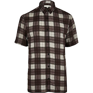 Brown check short sleeve shirt