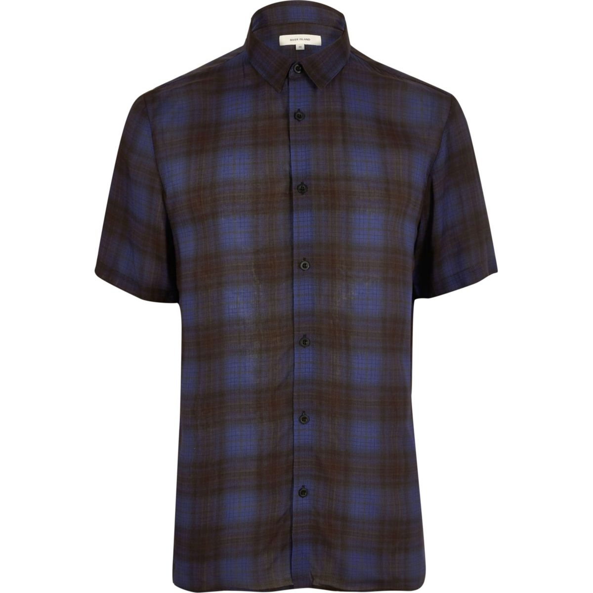 Dark blue check short sleeve shirt