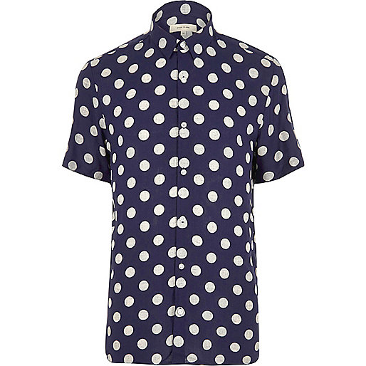 Navy polka dot short sleeve shirt shirts sale men for Mens polka dot shirt short sleeve